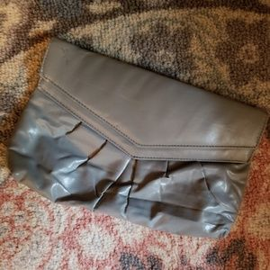 Gray 12 Inch Clutch Faux Leather